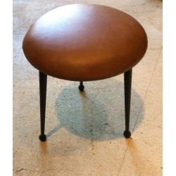 tabouret simili cuir marron